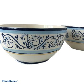 2 Better Homes And Gardens Cereal Bowls Renes Blue And Yellow Scroll