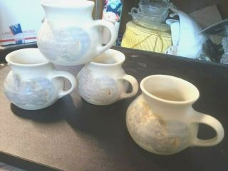 4 Hand Crafted Studio Art Pottery Coffee Mugs,  Cups - Signed Ks Pastels On White