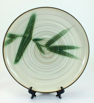 """Vintage Showa Stone Ware Hand Crafted Bamboo Serving Platter Made In Japan 12 """""""