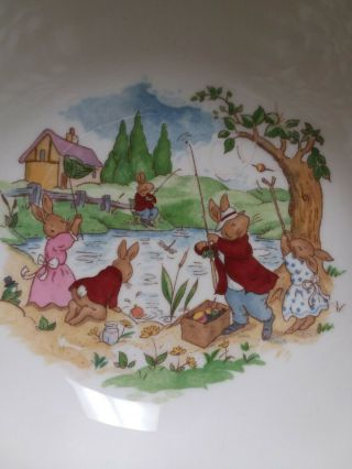 Royal Doulton Bunnykins Fishing At Pond Coupe Cereal Bowl Crafted In England