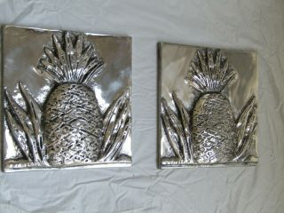 Pineapple Ceramic Tiles In Silver Glaze,  Hand Made,