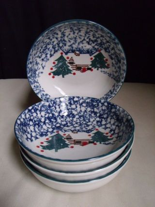 Folk Craft Tienshan Cabin In The Snow Christmas Sponge Pottery 4 Cereal Bowls A