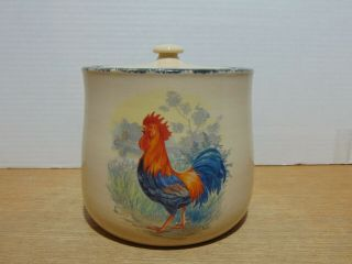 Home And Garden Party Rooster Cookie Jar Canister Stoneware 2001