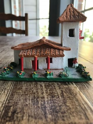 Hand Crafted Painted Clay Ceramic Decorative House