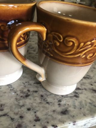 """5 Better Homes And Garden Embossed Scroll Brown Rim Stoneware Mugs Cups 5 """" Tall"""