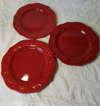 """3 Red Garnet Dinner Plates 11 """" With Raised Leaf Rim,  By Better Homes And Gardens"""