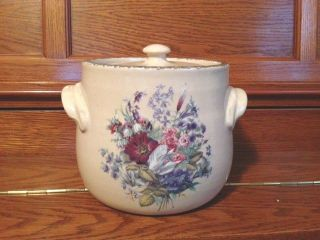 Home & Garden Party Stoneware Butter Crock With Lid Floral Design