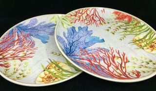 2 Dinner Plates Tropical Melamine Outdoor Better Homes Gardens Sea Plants Coral