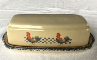 Home And Garden Party 2001 Roosters Covered Butter Dish Microwave/dishwasher Ok