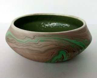 Bryce Canyon - Mission Swirl Arts & Crafts Pottery Low Bowl Planter - Utah