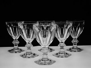 "6 Baccarat Crystal "" Harcourt 1841 "" 2 Water Goblets Hand - Crafted In France"