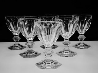 "6 Baccarat Crystal "" Harcourt 1841 "" Claret Wine Glasses Hand - Crafted In France"