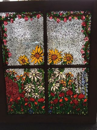 Mosaic Window Art Hand Crafted Stained Glass 25x27 Flower Garden