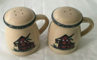 Home & Garden Party Salt & Pepper Shakers With Handles Stoneware