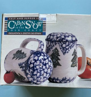 Folk Craft Cabin In The Snow Salt And Pepper Shakers Set Tienshan Christmas