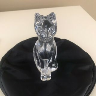 Daum Crystal Cat No Box Hand Crafted In France Signed Heavy Animal