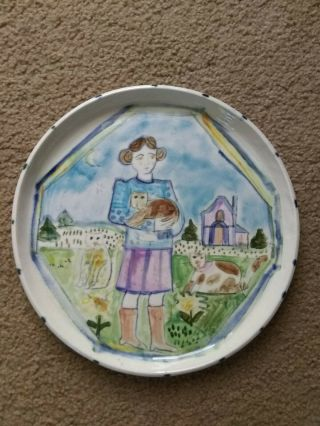 Vintage Arts & Crafts Pottery Crackleware Plate,  Girl W / Cats,  Signed Colorful
