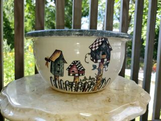 """Home & Garden Party Birdhouse Pitcher 10 """" Serving Mixing Bowl 2001 Made In Usa"""