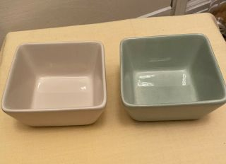 Tabletops Gallery Misto Hand Crafted Hand Painted 7 X 7 Bowls Sage & Cream