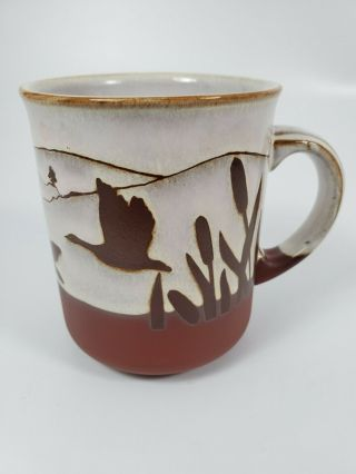 Kiln Craft Stoneware Ducks And Cattails Brown And Beige Mug Coffee Cup England