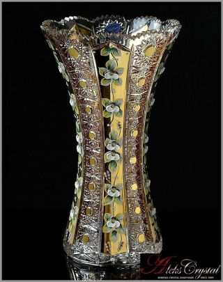 "Bohemian Crystal Vase For Flowers 31 Cm,  "" Shaherezada "" Gold,"