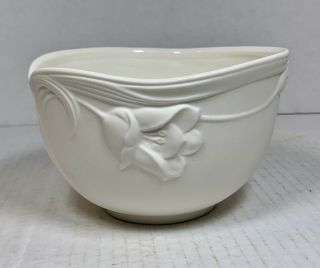 Hand Crafted Gorham China Bowl - Brilliant White With Embossed Linen Flowers