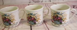 """Vintage Treasure Craft Pottery """" French Market 3 Coffee Mugs Cups 3.  5 """" Tall 1984"""