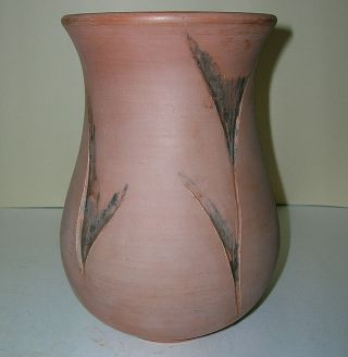 """Hand Crafted Studio Pottery Bouquet Vase Red Clay W/ Design 7.  25 """" Tall Planter"""