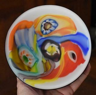 Gorgeous Arte Murano Hand Crafted Colorful Millefiori Venetian Art Glass Bowl