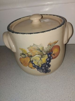 Home And Garden Party Pottery Handled Soup/bean Pot With Lid -