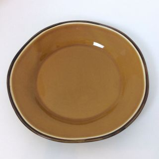 Tabletops Gallery Honey Dinner Plate Brown Hand Painted Crafted Irregular Shape