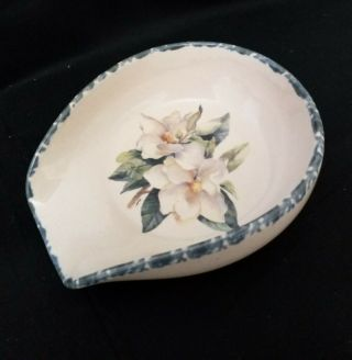 Home And Garden Party Spoon Rest Holder Magnolia Stoneware 2000