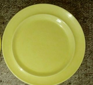 """Vintage Metlox Colorstax Hand Crafted 1 Dinner Plates 10 1/2 """" Yellow Hand Made"""