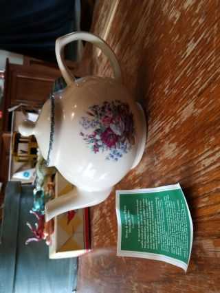 Home And Garden Party Ltd Teapot Floral Flowers & Blue Design Hand Made 2001
