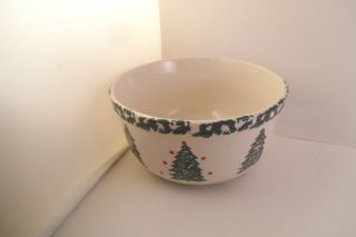 Lovely Folk Craft Holiday Pines By Tienshan Cereal Bowl Christmas Tree
