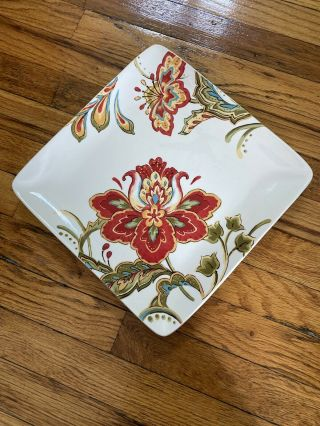 """Better Homes & Gardens Square Ceramic 10.  5 """" Colored Floral Dinner Plate"""