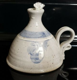 Stoneware Pottery Studio Hand Crafted Signed Blue Gray Oil Lamp
