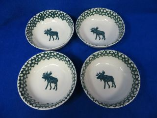 Folk Craft Moose Country By Tienshan 6 1/4 Inch Cereal Bowls Set Of 4