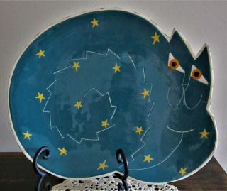 """Hand Crafted Cat Pottery Platter Signed Silhouette 11 """" X 9 """" Unique"""