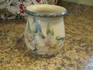 """Home And Garden Party """" Magnolia """" 5 3/4 Inch Utensil Holder 2001 Euc"""
