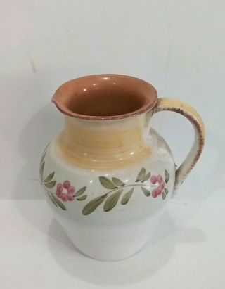 Large Italian Hand Crafted Water/lemonade Pitcher Pottery Floral Design Home