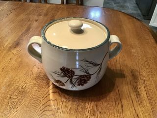 Home And Garden Party Pine Cones Handled Pot Crock Covered Oven Stoneware