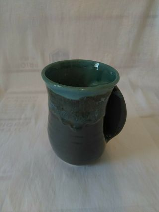 Neher Studio Hand Crafted Hand Warmer Mug Green Blue Gray Tan Pottery