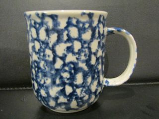 Folk Craft Hearts Blue Sponge Coffee Cup Mug Made By Tienshan
