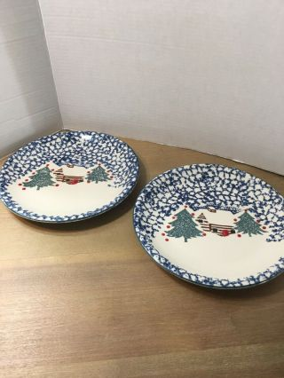 "2 Tienshan Folk Craft "" Cabin In The Snow "" 10 3/8"" Dinner Plates"