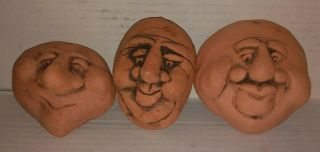 3 Different Vintage Ceramic Terra Cotta Faces Hand Made Craft Ready Unique Items