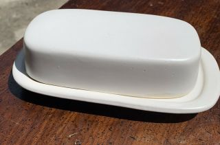 Mccoy Pottery Butter Dish 7013 Creamy White Glaze Usa Arts & Crafts Style