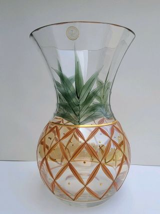 Romanian Hand Crafted Crystal Glass Pineapple Vase