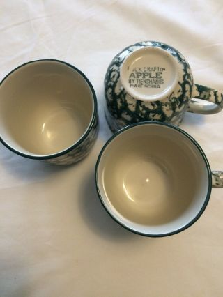 Tienshan Folk Craft Green And Ivory Coffee Cups (3) - No Chips Or Cracks