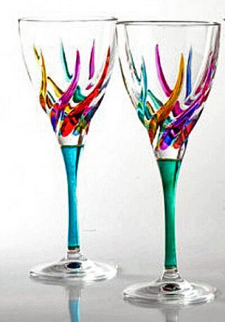 Glassware - Venetian Carnevale Wine Glasses - Set Of Two - Hand Painted Crystal